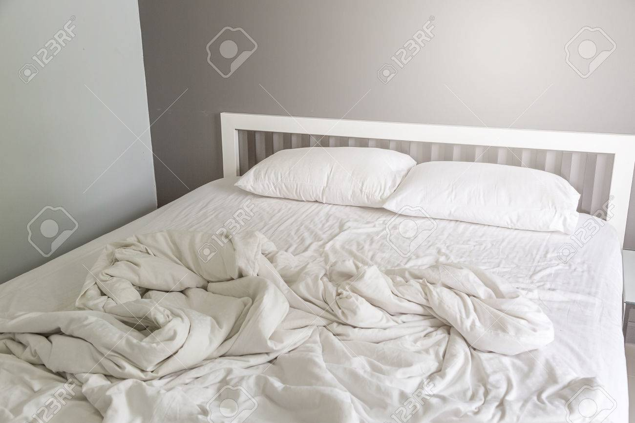 Two White Pillow On Bed With Wrinkle Messy Blanket In Bedroom Stock Photo Picture And Royalty Free Image Image 79641445
