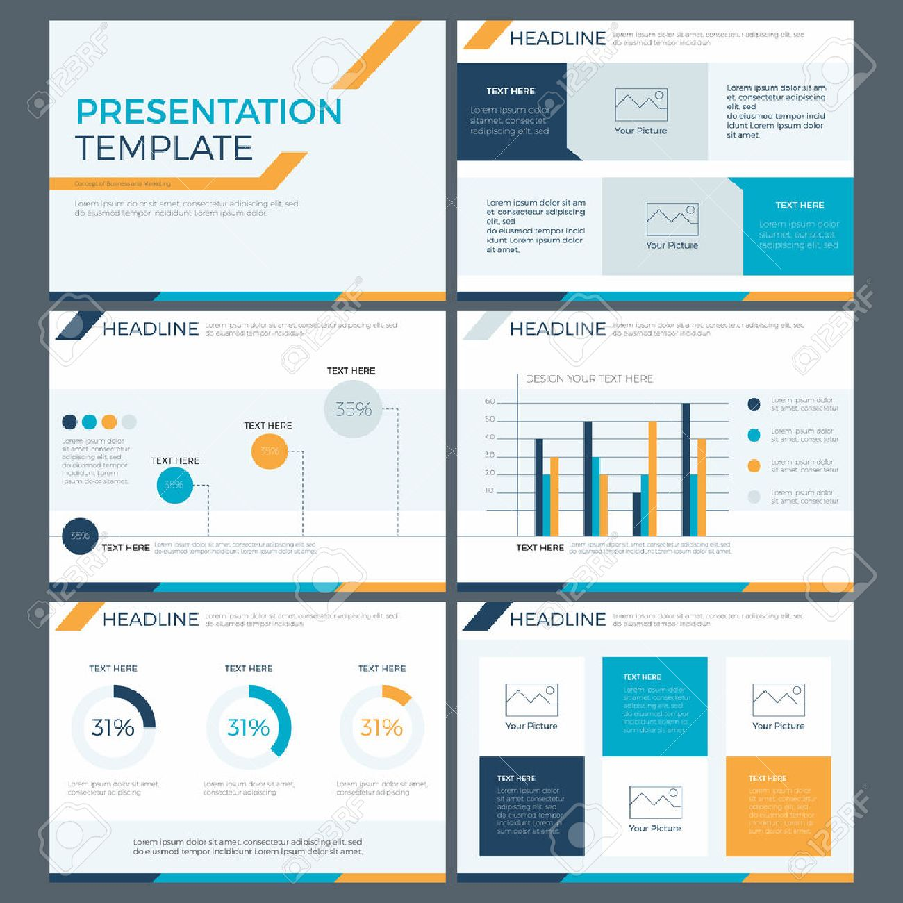 Presentation Template Concept Of Business Team Work And Marketing Power  Point Design Stock Vector - 66562774