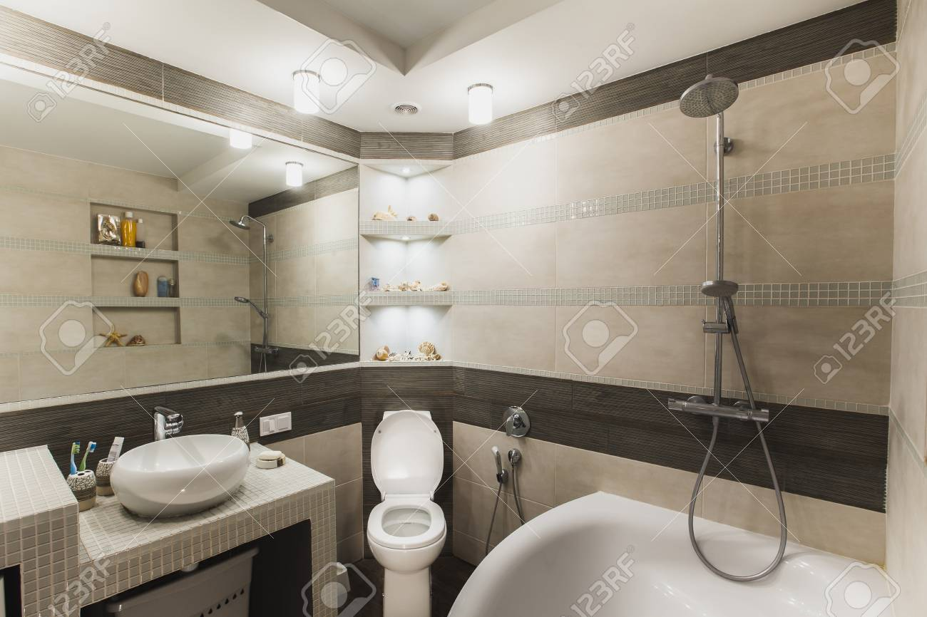 Interior Design Of A Luxury Bathroom Washroom With Washbasin Stock Photo Picture And Royalty Free Image Image 79163413