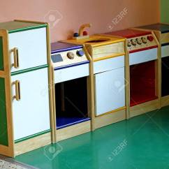 Wooden Toy Kitchen Island Casters Small To Play And Amuse The Children Of A Stock Nursery Photo