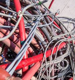 electrical wires and other lengths of copper wire in the dump of special material stock photo [ 1300 x 1060 Pixel ]