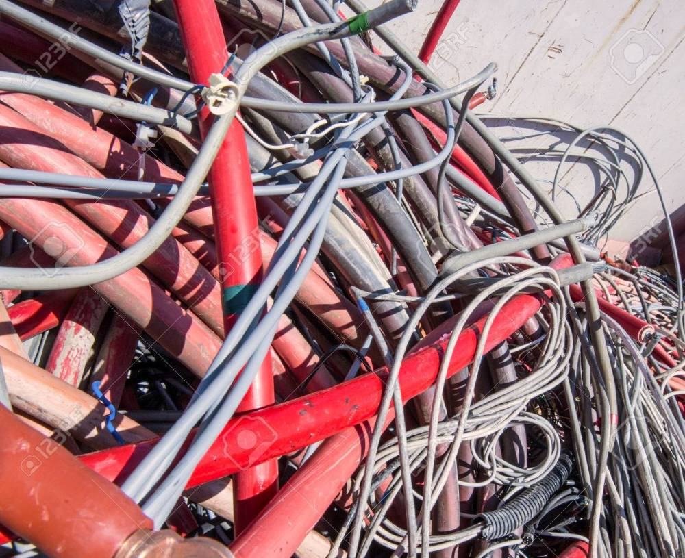 medium resolution of electrical wires and other lengths of copper wire in the dump of special material stock photo