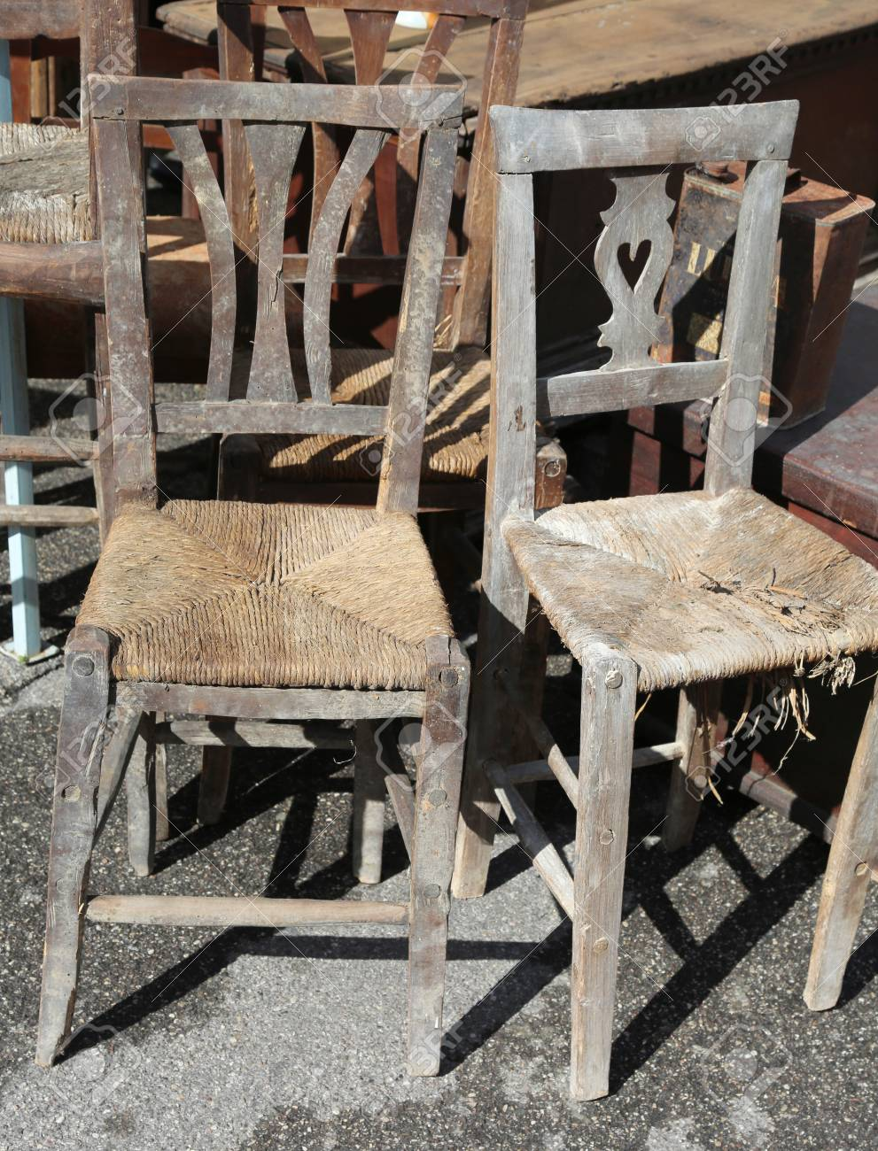 wicker chair for sale kids wooden desk chairs old in the outdoor antiques market stock photo 73618109