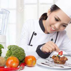 Kitchen Chief Door Repair Beautiful Asian Female Chef Garnishing In The Stock Photo 36078988