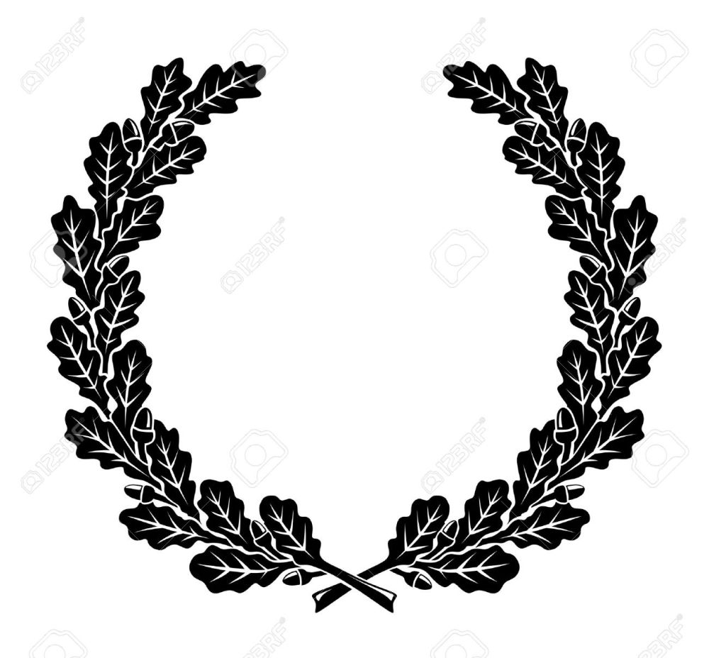 medium resolution of a simplified wreath made of oak leaves illustration