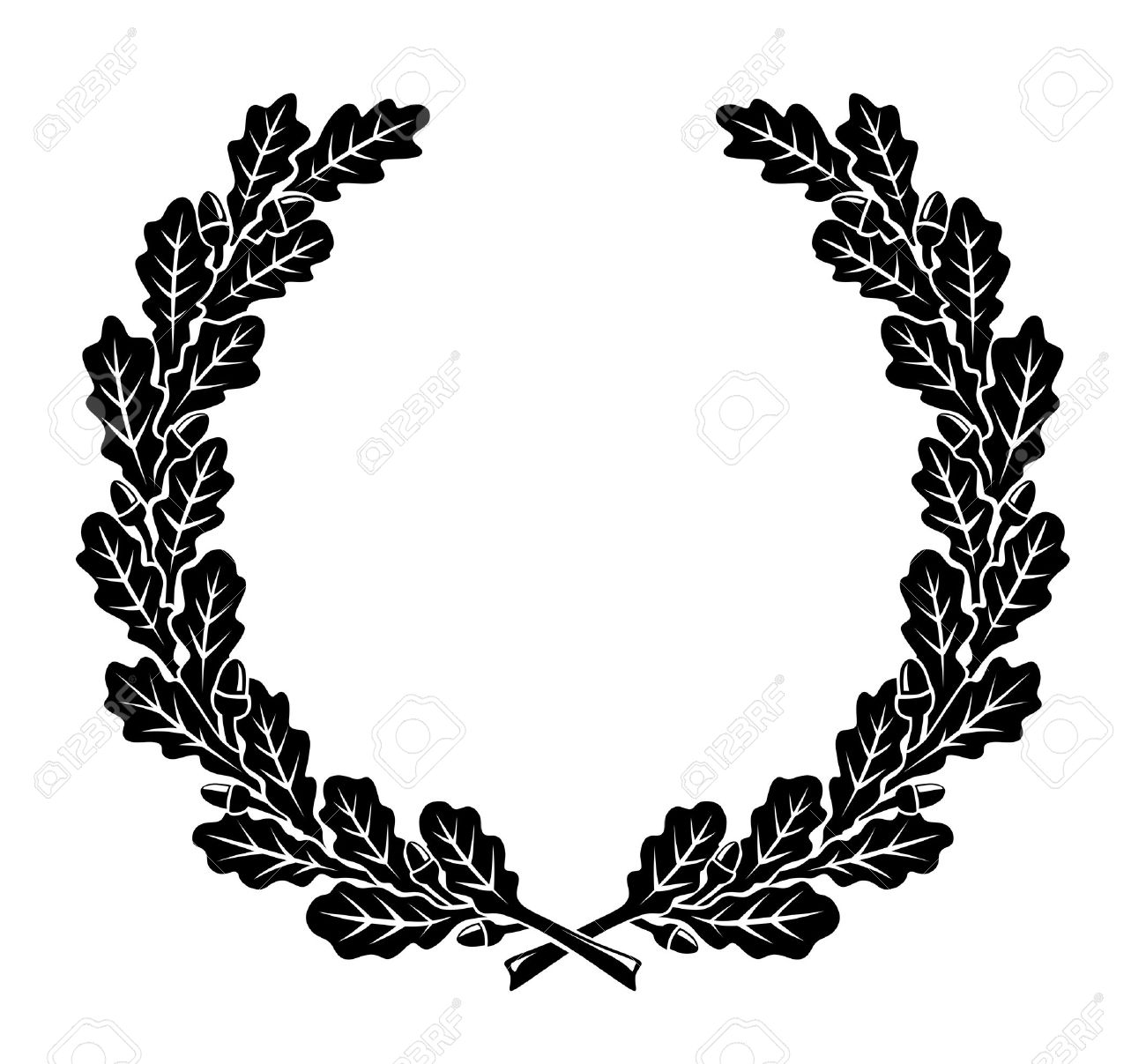 hight resolution of a simplified wreath made of oak leaves illustration