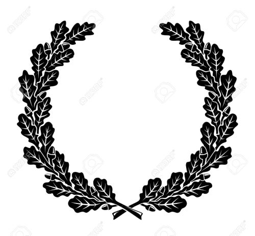 small resolution of a simplified wreath made of oak leaves illustration