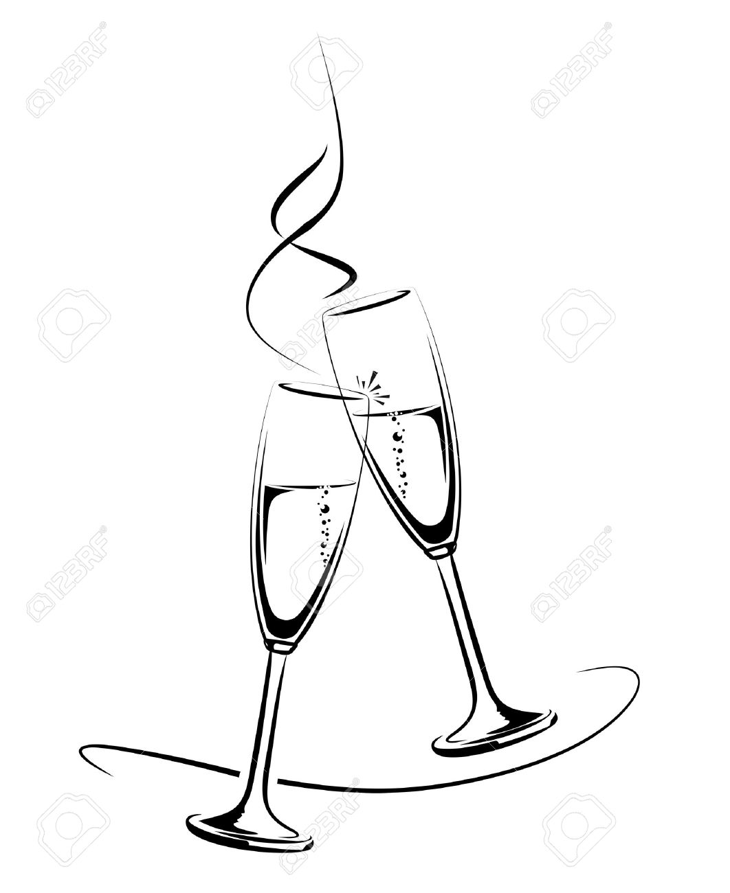 hight resolution of illustration of clinking champagne glasses for a festive occasion illustration
