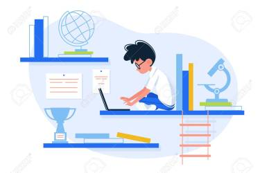 Boy Loves To Learn Guy Study To Sit With Laptop Vector Illustration Royalty Free Cliparts Vectors And Stock Illustration Image 112082245
