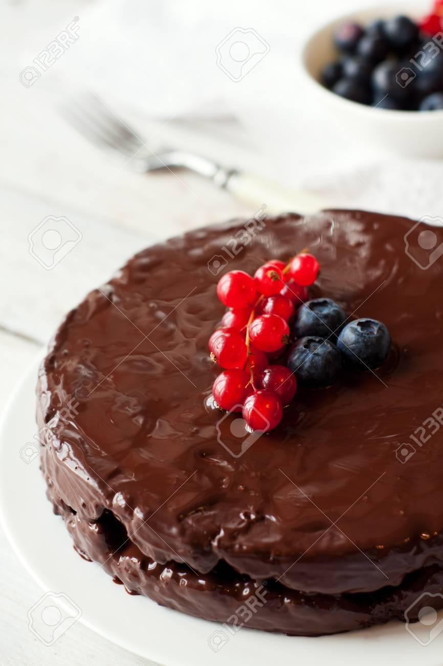Homemade Gluten Free Chocolate Cake Decorated With Fresh Berries