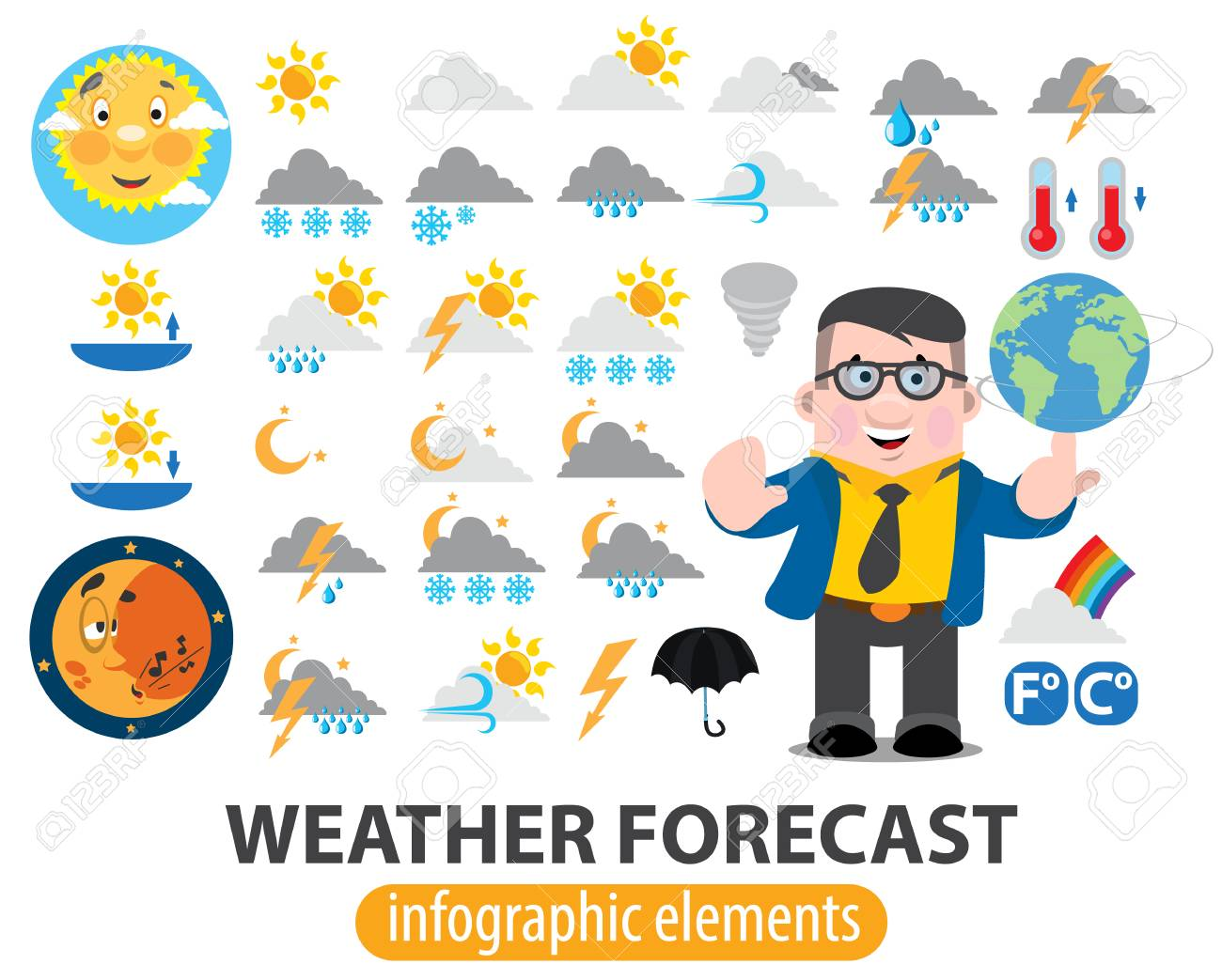 hight resolution of vector weather forecast infographics elements tv weather news reporter at work tv weather prediction forecast male news reporter
