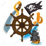 Steering Wheel Sword Jolly Roger Pirate Ship Graphics Pirate Royalty Free Cliparts Vectors And Stock Illustration Image 106858648