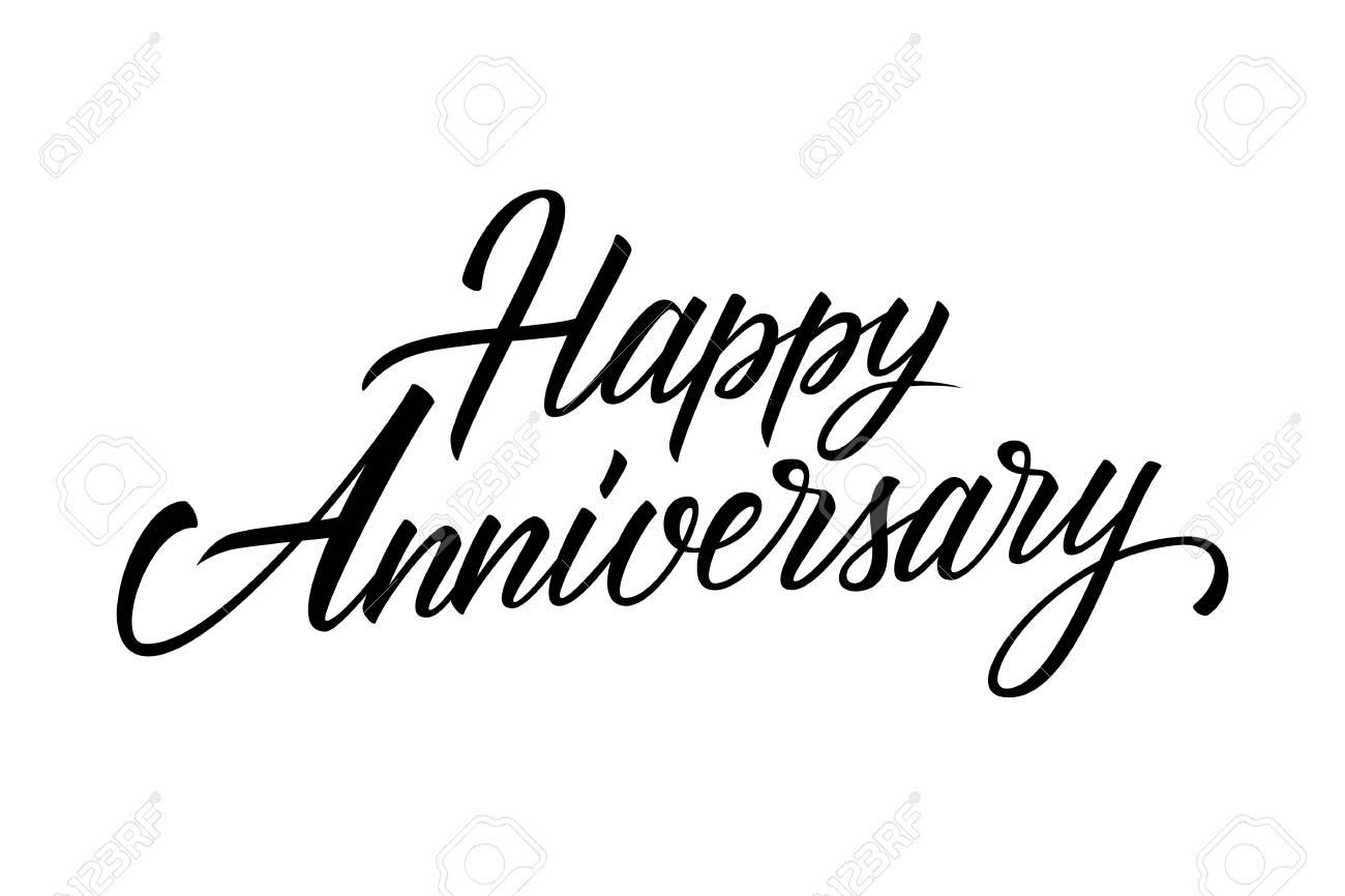 happy anniversary calligraphic lettering