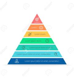 pyramid for infographics with numbers chart diagram with 7 steps options vector [ 1300 x 1300 Pixel ]