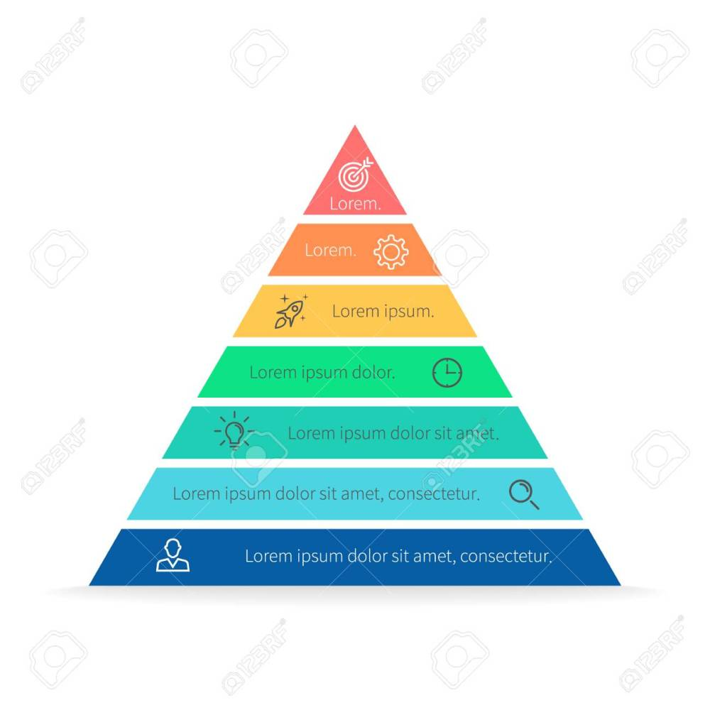 medium resolution of pyramid for infographics with numbers chart diagram with 7 steps options vector