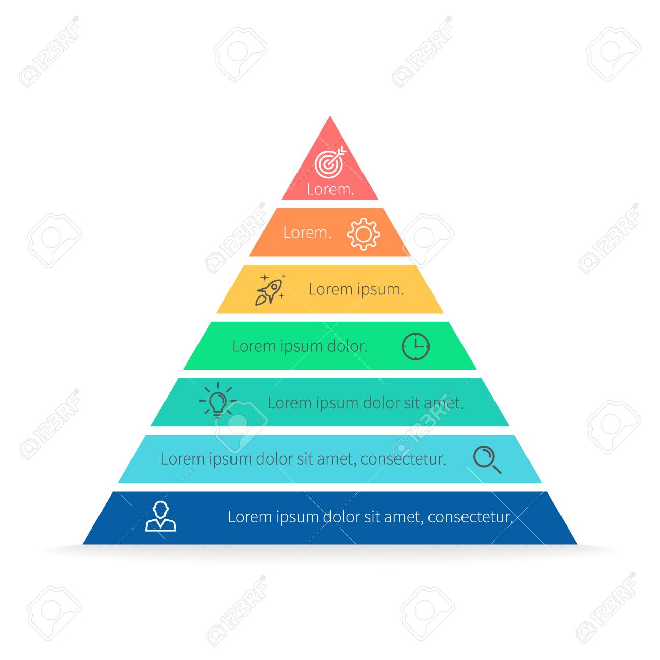 hight resolution of pyramid for infographics with numbers chart diagram with 7 steps options vector