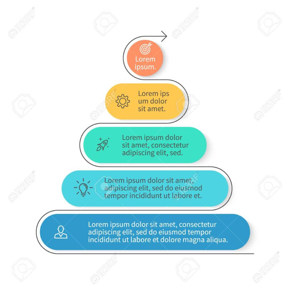 medium resolution of pyramid for infographics chart diagram with 5 steps options vector design element