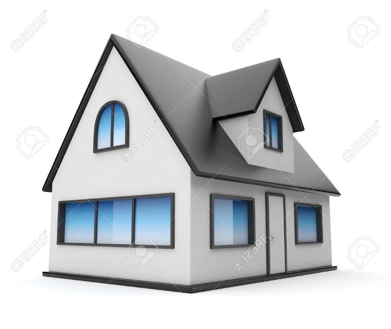 petite maison icone 3d isole sur fond blanc