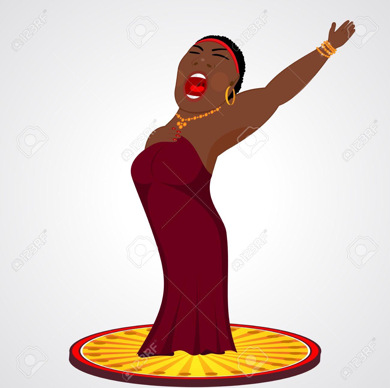 hight resolution of cartoon illustration of black jazz opera singer stock vector 41134701