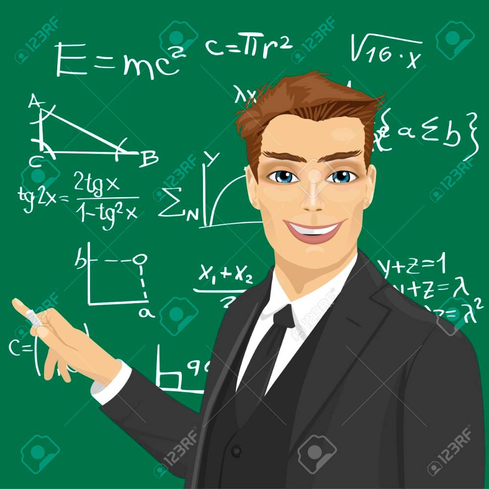medium resolution of vector young male math teacher with piece of chalk standing next to blackboard