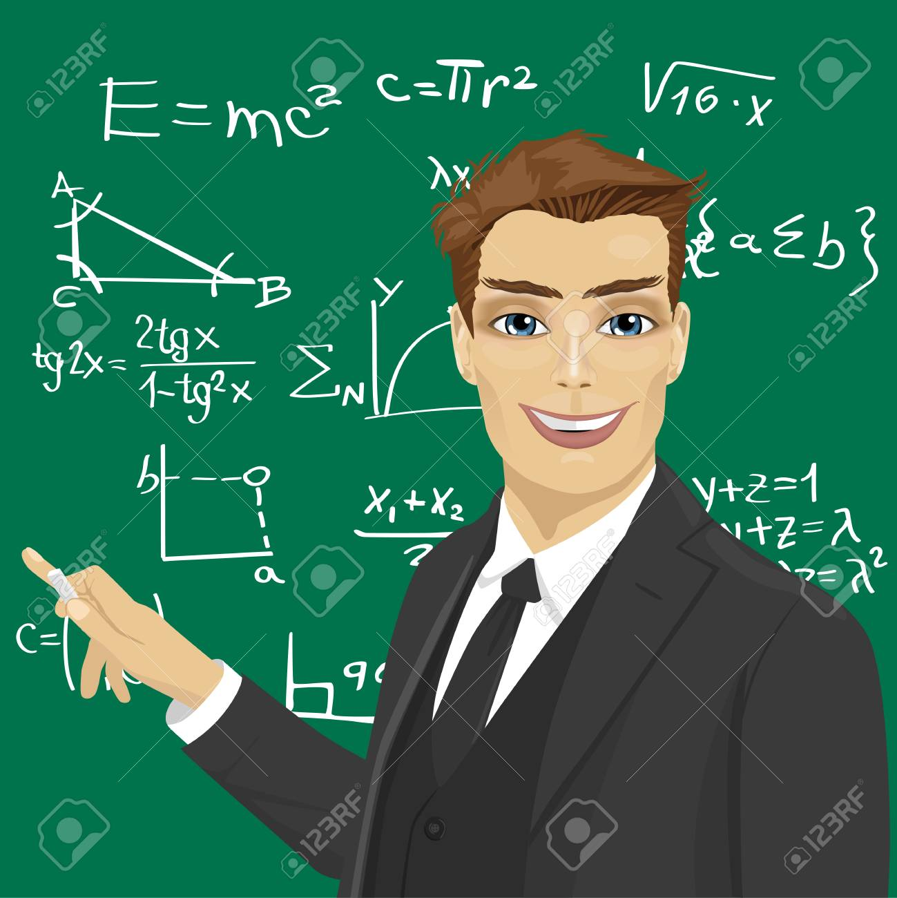 hight resolution of vector young male math teacher with piece of chalk standing next to blackboard