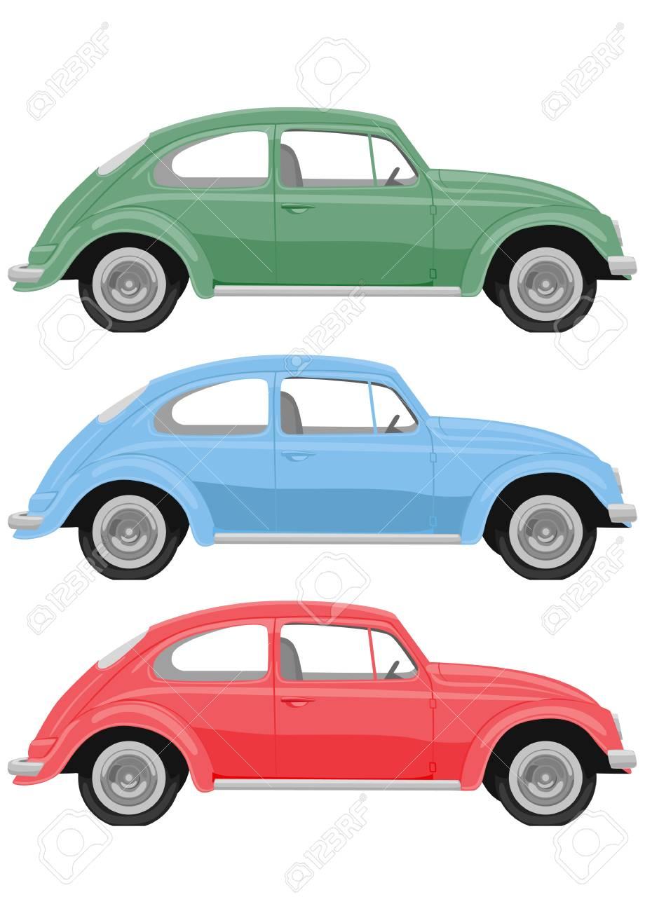 Vintage Car Clipart : vintage, clipart, Multicolored, Retro, White, Background., Vintage, Royalty, Cliparts,, Vectors,, Stock, Illustration., Image, 93237525.