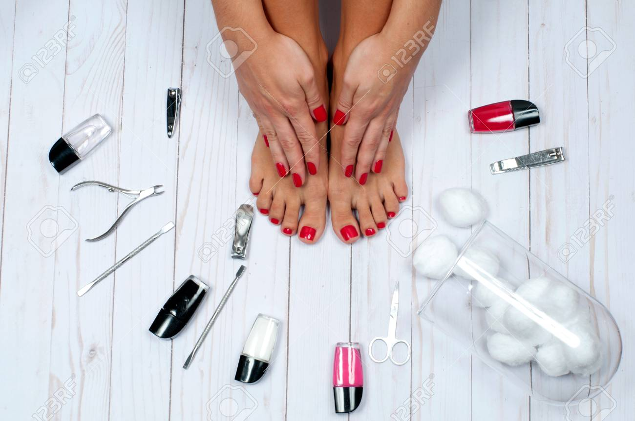hight resolution of foot care treatment and nail beautiful female feet at spa salon on pedicure procedure stock