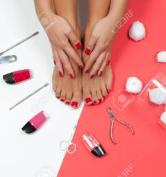 skin care treatment and nail beautiful female feet at spa salon on pedicure and manicure [ 1300 x 840 Pixel ]