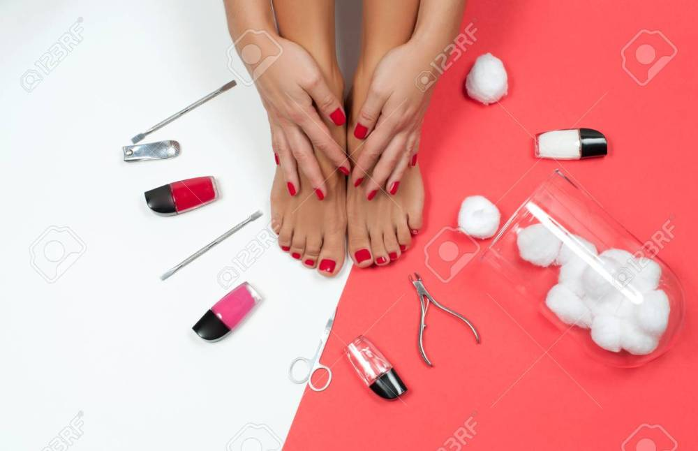 medium resolution of skin care treatment and nail beautiful female feet at spa salon on pedicure and manicure