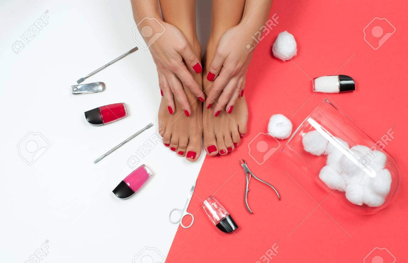 hight resolution of skin care treatment and nail beautiful female feet at spa salon on pedicure and manicure