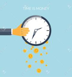 flat time is money concept background movey saving time management [ 1300 x 1300 Pixel ]