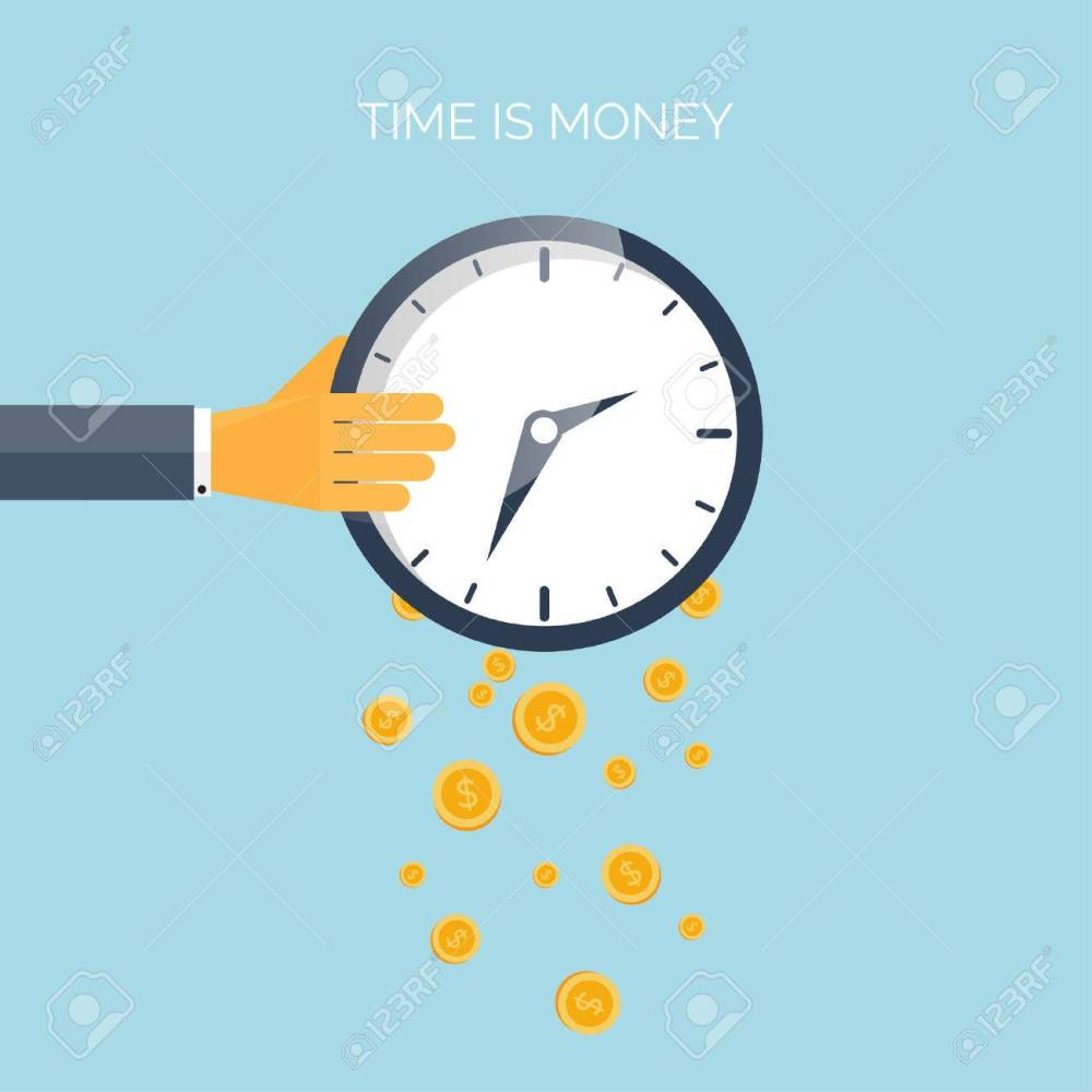medium resolution of flat time is money concept background movey saving time management