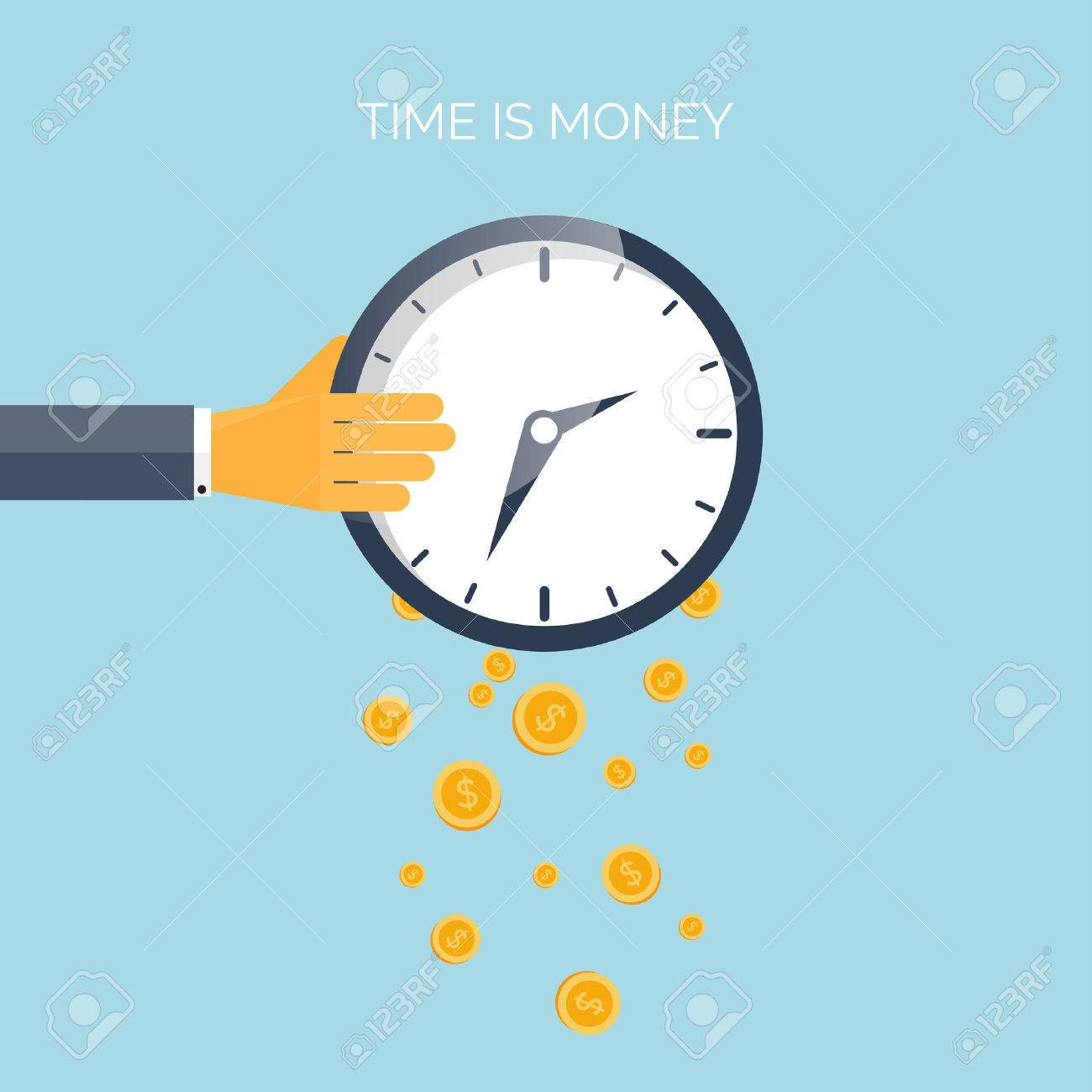 hight resolution of flat time is money concept background movey saving time management