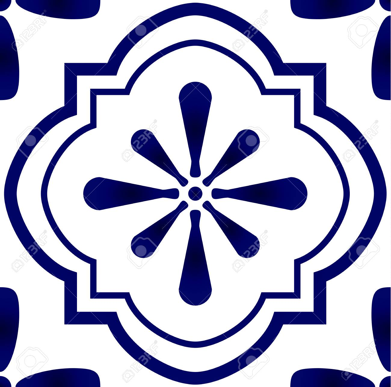 seamless blue and white pattern for design porcelain background
