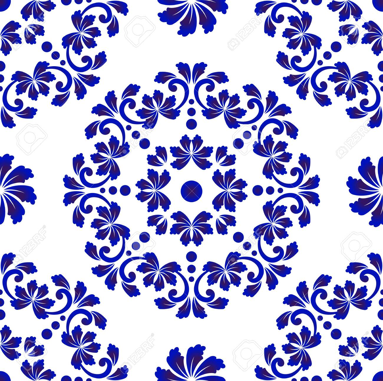 blue and white tile pattern abstract floral decorative seamless