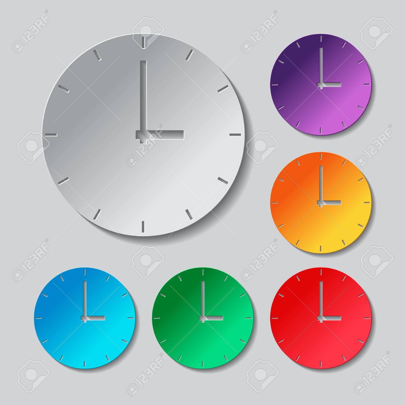 hight resolution of simple clock icon paper style colored set stock vector 59795141