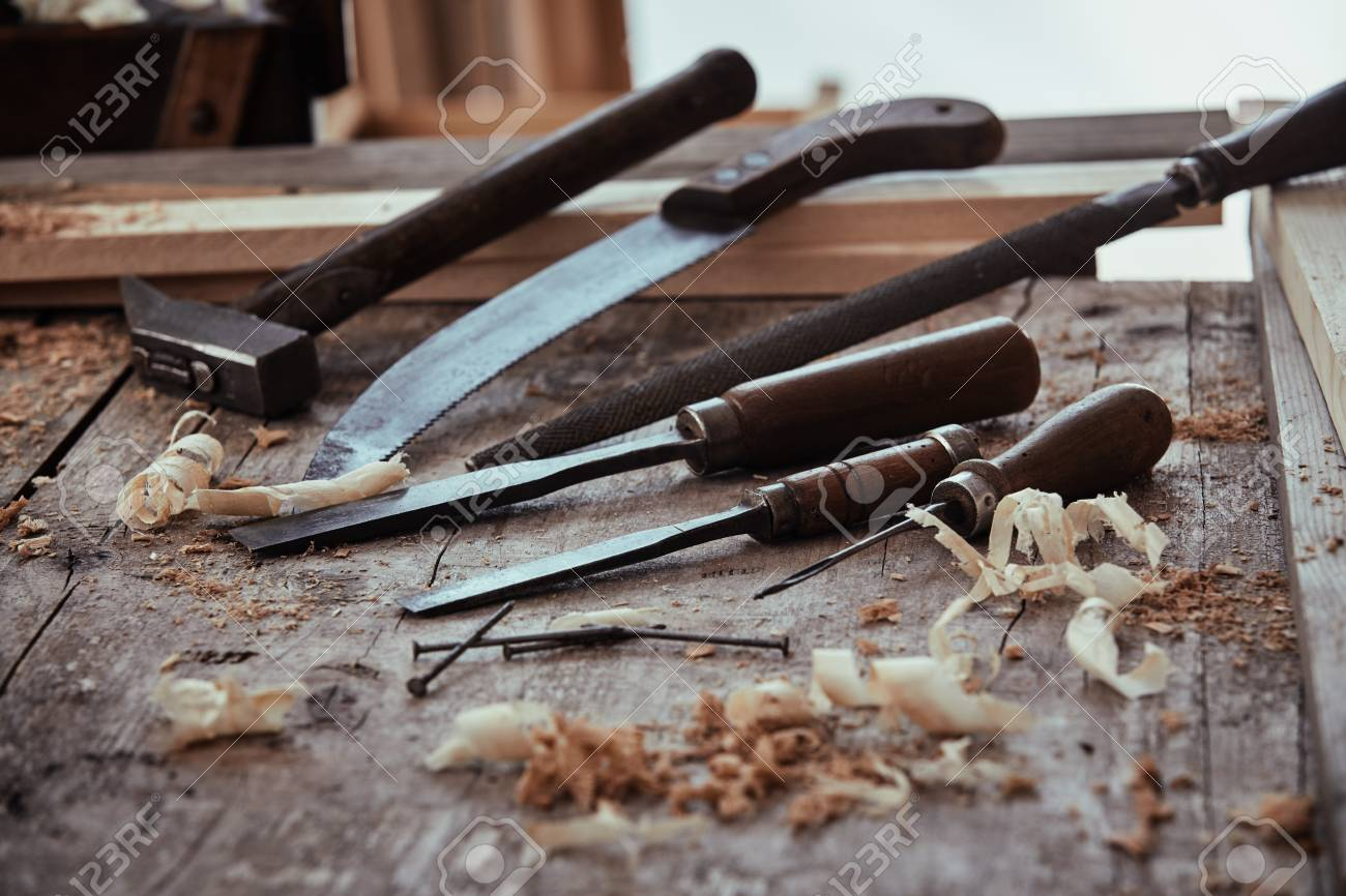 low angle view of a rustic woodworking workshop with old vintage stock photo picture and royalty free image image 120267139