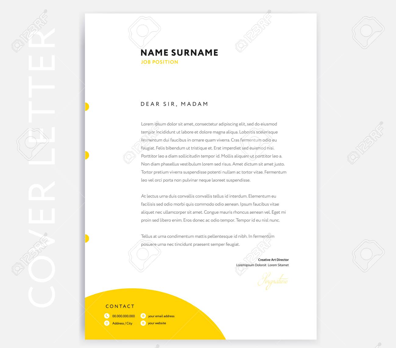 What To Put On A Cv Cover Letter Yellow Cv Cover Letter Template Design Curriculum Vitae Minimalist