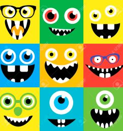 cartoon monster faces vector set smiles eyes eyeglasses cute square avatars and [ 1300 x 1300 Pixel ]