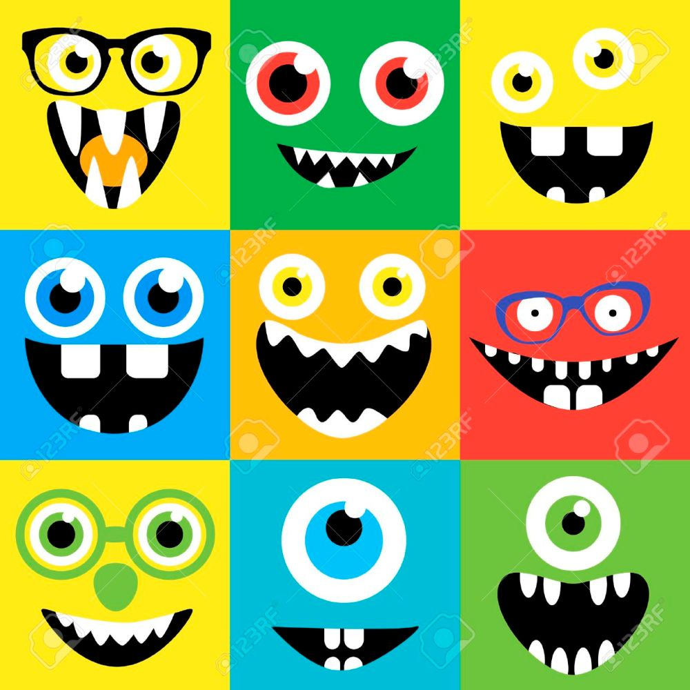 medium resolution of cartoon monster faces vector set smiles eyes eyeglasses cute square avatars and