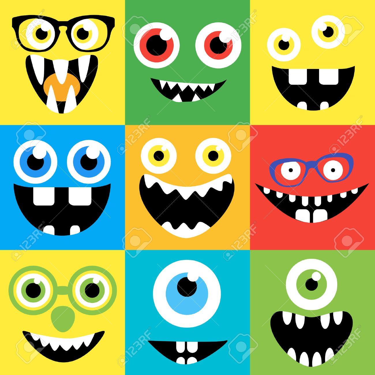 hight resolution of cartoon monster faces vector set smiles eyes eyeglasses cute square avatars and