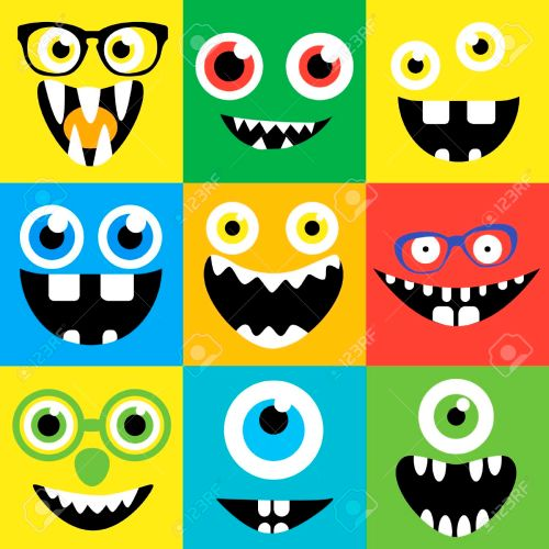small resolution of cartoon monster faces vector set smiles eyes eyeglasses cute square avatars and