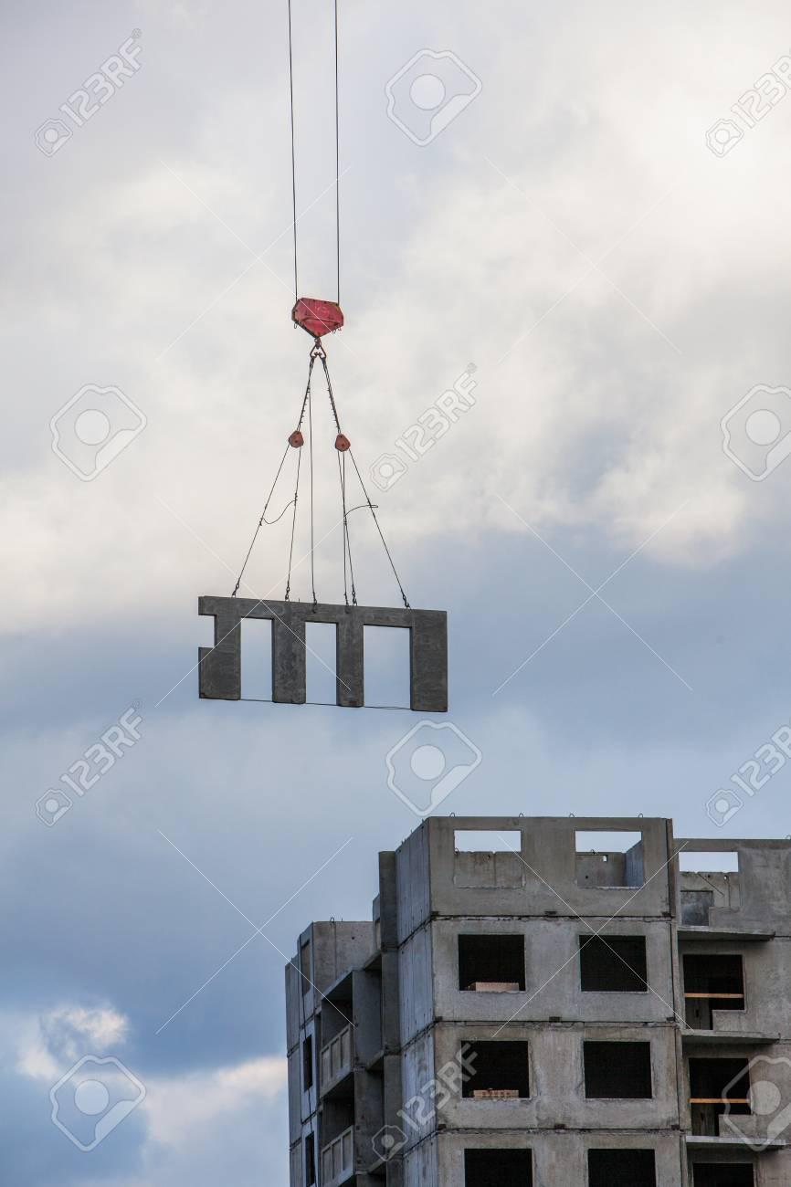 tower crane lifting concrete
