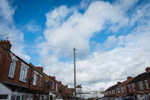 small resolution of mess of overhead telephone wiring in british town street stock photo 25907685