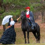 Man And Woman In Vintage Outfits Near The Horse Stock Photo Picture And Royalty Free Image Image 138976185