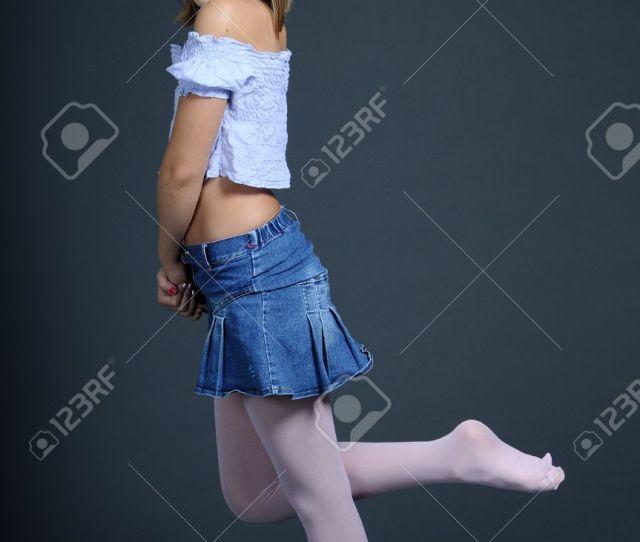 Girl Presenting Pink Stockings Stock Photo 8501332