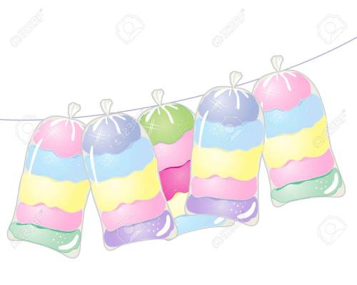 small resolution of an illustration of a line with bags of colorful cotton candy on a white background stock