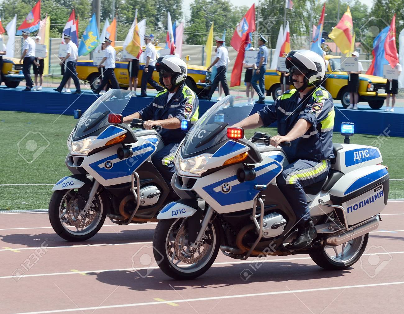 hight resolution of inspectors of traffic police on bmw motorcycles stock photo 75291854