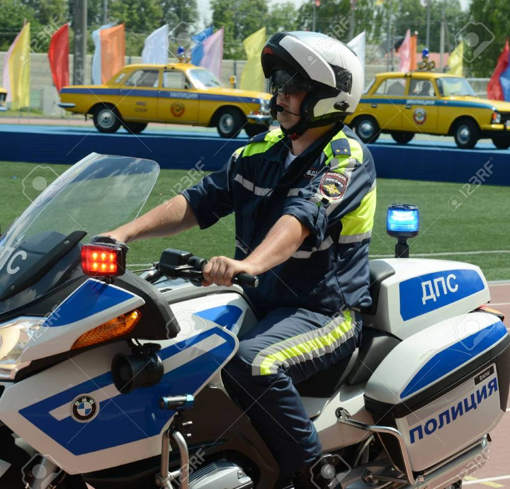 medium resolution of stock photo the inspector of traffic police motorcycle bmw leaves to patrol the roads
