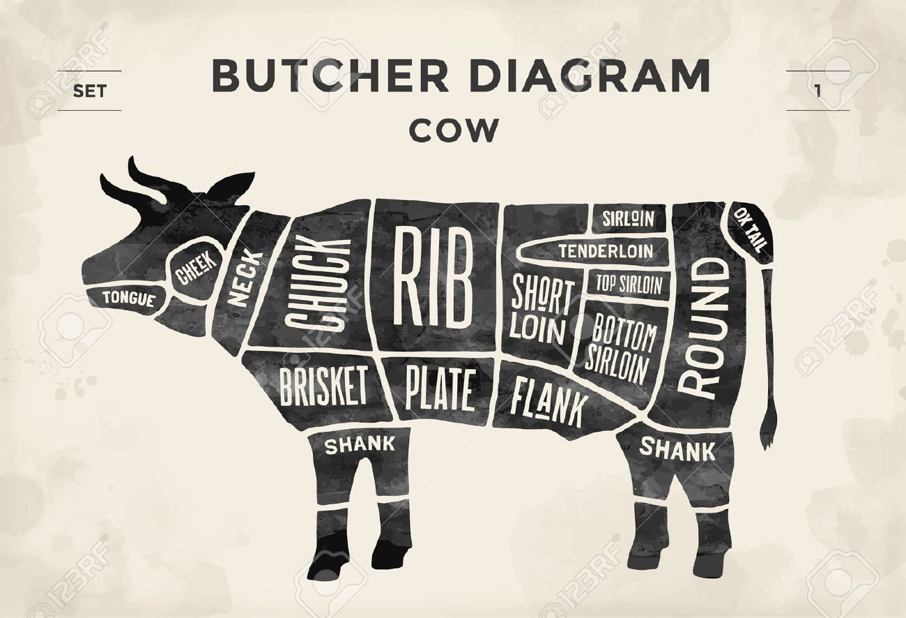 hight resolution of cut of beef set poster butcher diagram cow vintage typographic beef diagram butcher